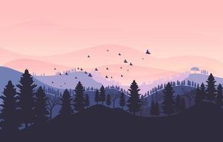 lindo entardecer no cenário das montanhas vetor
