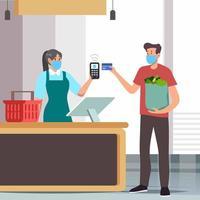 pagamento sem contato com cartão de débito vetor