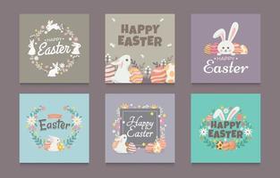 conjunto de design de coelho easte para postagem em mídia social vetor