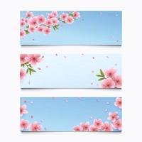 conjunto de banner de flor de sakura desabrochando no céu azul vetor