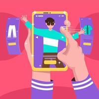 compras online virtuais com estilo vetor