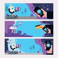 conceito de banner intacto com drone e robô vetor