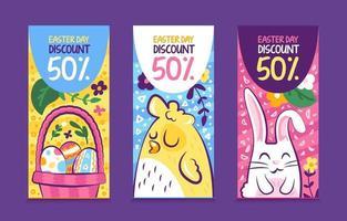 3 pacotes de banners divertidos para o dia de páscoa vetor
