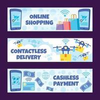 conjunto de banners de tecnologia sem contato para compras online vetor
