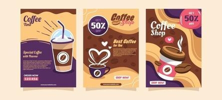modelos de panfletos de cafeteria vetor