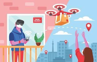 conceito de entrega de drones sem contato sem contato vetor