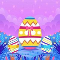 ovo de páscoa colorido isolado em fundo roxo vetor