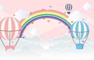 balão de ar com fundo colorido do arco-íris vetor