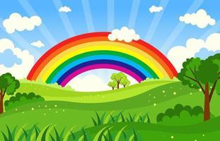 arco-íris em um dia ensolarado de campo vetor