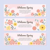 primavera rosa refrescante com flores espalhadas vetor