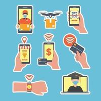 muitas maneiras pelas quais a tecnologia ajuda você a ficar sem contato vetor