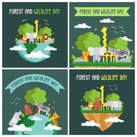 conjunto de cartão do dia da floresta e da vida selvagem vetor