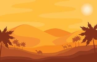 fundo do panorama do deserto com palmeiras vetor