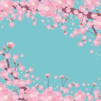 flor de cerejeira com fundo turquesa vetor