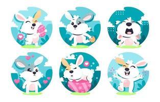 personagem de coelho da páscoa em diferentes poses vetor