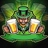 personagem leprechaun segurando cerveja com design de camiseta vetor
