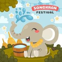 conceito de celebração do festival songkran com elefante feliz vetor