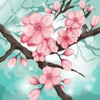 ilustração linda flor de cerejeira vetor