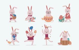 personagens de coelho da páscoa vetor