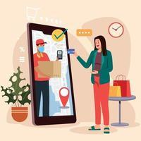 conceito de compras online do cliente vetor