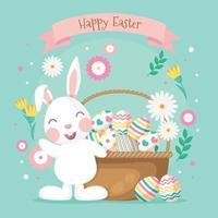 design plano feliz dia da páscoa do coelho vetor
