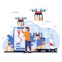 ilustração de compras de entrega sem tato vetor