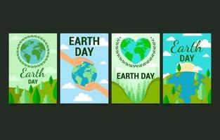 conjunto de design de cartões para campanha de conscientização do Dia da Terra vetor