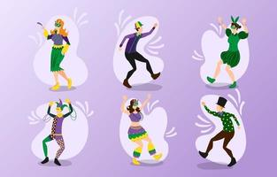 vários personagens do festival de mardi gras vetor