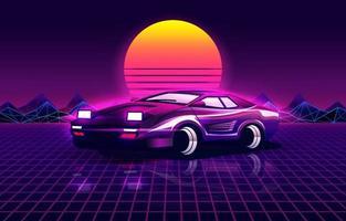 fundo futurista retrô com carro esporte estilo anos 80 vetor