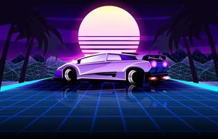 estilo retro futurista dos anos 80 com carro esporte clássico vetor