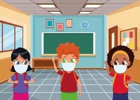 crianças inter-raciais usando máscaras faciais para covid19 na sala de aula vetor