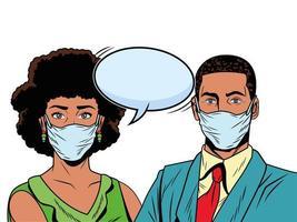 casal negro de negócios usando máscaras para covid19 com balão de fala vetor