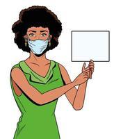 mulher negra usando máscara facial para covid19 com banner vetor