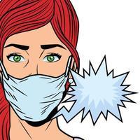 mulher usando máscara facial para covid19 com balão de fala vetor