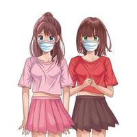 meninas usando máscaras faciais personagens de anime vetor