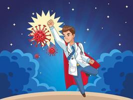 super médico com capa de herói vs covid19 vetor