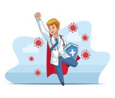 super médico com capa de herói e escudo contra covid19 vetor