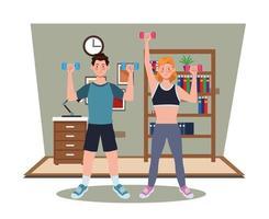 casal se exercitando juntos em casa vetor