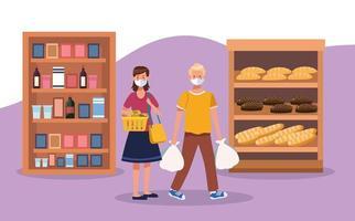 casal fazendo compras no supermercado com máscara facial vetor
