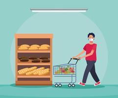 homem fazendo compras no supermercado com máscara facial vetor