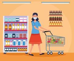 mulher fazendo compras no supermercado com máscara facial vetor