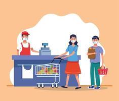 casal fazendo compras no supermercado com máscara facial e vendedor vetor