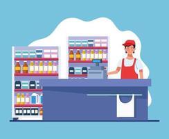 vendedor de supermercado trabalhando personagem avatar vetor