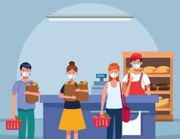 pessoas comprando no supermercado com máscara facial vetor