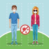 casal usando máscaras com sinal de stop covid19 no parque vetor