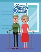 ficar em casa campanha com casal de avós vetor