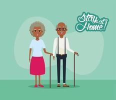 ficar em casa campanha com casal de avós negros vetor