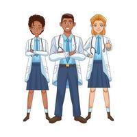 personagens médicos diversos profissionais vetor