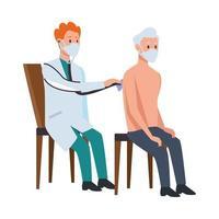 médico atendendo velhinho em cadeiras vetor