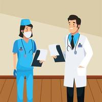 personagens médico e enfermeira vetor